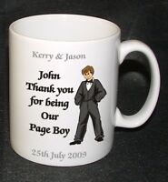 PERSONALISED PAGE BOY BEST MAN WEDDING FAVOUR MUG GIFT