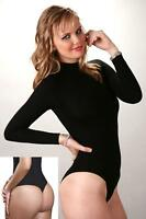 NEW WOMEN'S TURTLENECK LONG-SLEEVE THONG BODYSUIT-BLACK(2351)