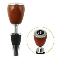GEAR SHIFT WINE BOTTLE STOPPER Father's Day Car Enthusiast Wood Rubber Chrome