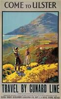 Irish Poster. Ulster, Cunard, Mournes Northern Ireland