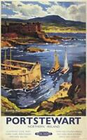 Irish Travel Art Poster, Portstewart Northern Ireland