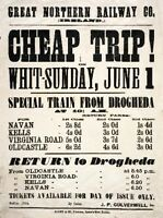 Irish Railway Art Timetable Poster, Drogheda Ireland