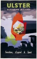 Red Hand of Ulster Northern Ireland Irish Travel Poster