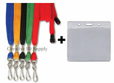 LANYARD-Lot of 10 Breakaway Strap + 10 ID Badge Holders