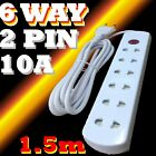 Mains 6 way 2 pin Multi UNIVERSAL plug socket ADAPTER 1.5M Extension Wire 240V