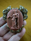 (CL30-15) ROMAN WOMAN burgundy CAMEO Pendant Jewelry brooch Necklace