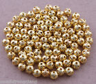 500 Pcs Gold Plated Loose Spacer Findings Beads Charms 4mm