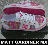 KIDS DC SHOES GIRLS YOUTH FIONA skate trainers white plaid
