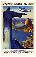 Vintage Pan Am Flying Down To Rio A3 Poster Reprint