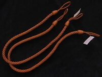 2 Rope curtain tiebacks  - RUST   - slender slinky cord drape tie back holdbacks
