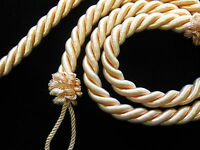 2 Rope curtain tiebacks - Peachy pink  -  slender slinky cord  tie hold backs