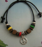 Wooden Beaded with Peace Sign Charm Bracelet Wristband Tribal Surfer,FRIENDSHIP