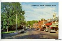 Concord MA 1st National Store VW Bug Street Vue Old Cars Postcard