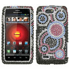 For Motorola DROID 4 Crystal Diamond BLING Case Snap Phone Cover Bubble