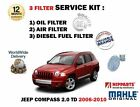 FOR JEEP COMPASS 2.0DT 9/2006-12/2010 NEW SERVICE KIT OIL AIR FUEL FILTER KIT