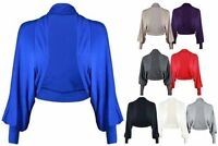 New Womens Jersey Cardigan Bolero Top Ladies Long Batwing Sleeve Shrug Size 8-14