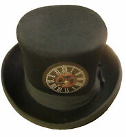 Steampunk/victorian black top hat with black clockface