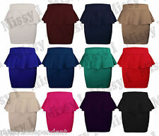 New Womens Ladies Peplum Frill Pencil Bodycon Mini Fitted Skirt 8-14