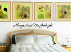 "Always Kiss Me Goodnight Vinyl Wall Decal Sticker Quote Romantic 15"", 30"" or 40"""