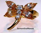 Champagne Marquise Round CZ Dragonfly Animal Cocktail Ring Size 5