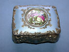 Antique Japanese 1890-21 Victorian Porcelain Medallion Metal Jewelry Trinket Box