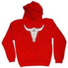 BUFFALO SKULL COWBOY WESTERN NATIVE AMERICAN HOODED TOP HOODIE ALL COLS & SIZES