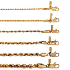 18KT Gold Overlay Rope Chain Necklace - Lifetime Warranty -  2,3,4,5,6 MM Widths