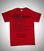 STAG NIGHT CHECKLIST PARTY GROOM FUNNY  NOVELTY ADULT T SHIRT S-XXL PERSONALISED