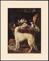 BORZOI DOG AND CATS CHARMING LITTLE PRINT MOUNTED READY TO FRAME