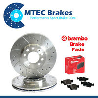BMW E46 320d 09/01-01/05 Front Drilled & Grooved Brake Discs & Brembo Pads