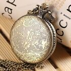NEW Antique Vintage Bronze Flower Pendant Quartz Watch Chain Necklace Gift#8