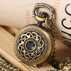 NEW Antique Vintage Bronze Flower Pendant Quartz Watch Chain Necklace Gift#2