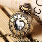 NEW Antique Vintage Bronze Heart Pendant Quartz Watch Chain Necklace Gift