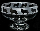 *DOG GIFT* ROUGH COLLIE Boxed FOOTED CLEAR GLASS BOWL with frosted frieze design