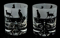 *SIAMESE / BURMESE CAT GIFT* Boxed Pair of GLASS WHISKY TUMBLERS Siamese Frieze
