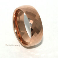 Tungsten Carbide Ring 8MM Rose Gold IP Faceted Wedding Band Thumb Middle