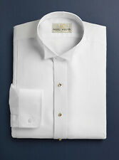 Mens White Formal Tails Tuxedo Shirt PIQUE WING TIP New ALL SIZES