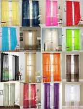 """2 Pcs. Sheer Voile Window Panel curtains DRAPE 63"""" , 84 , 95"""" SCARF MANY COLORS"""