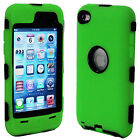 FOR IPOD TOUCH 4 4G 4TH GEN PROTECTOR+DELUXE GREEN HARD/SILICONE SKIN CASE COVER