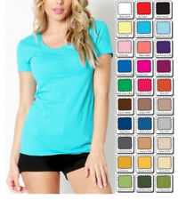 New WHIMSY Short Sleeve Basic Layering TEE SHIRT Scoop Neck STRETCH Misses/Plus