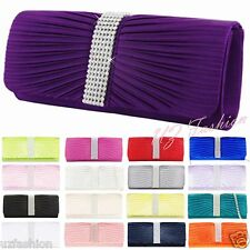 NEW SATIN CRYSTAL DIAMANTE WEDDING LADIES PARTY PROM EVENING CLUTCH BAG HANDBAG