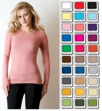 New WHIMSY Long Sleeve Basic Layering TEE SHIRT Crew Round Neck STRETCH S,M,L