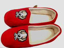 Ladies Cosy Slippers Red Size 3 to 8 Soft Comfy & Light Puppy Dog Embroidery NEW