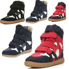 Fashion Women Strap High Top Wedge Hidden Heel Ankle Boots Sneaker Shoes