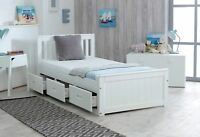 NEW 3ft Single Solid Pine Mission Storage Bed Drawers White - Mattress Option