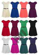 Womens Celeb Cap Sleeve Flared Tailored Skater Party Dress With Belt Plus 8-26