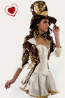 Womens Sexy Mad Hatter Tea Party Alice In Wonderland Fancy Dress Costume Corset