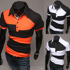 2015 Summer Mens Casual Polo T-Shirt V-Neck Short Sleeve Slim Fit Shirt Tops Tee
