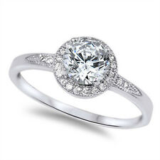 Halo Style White Cz Engagement .925 Sterling Silver Ring Sizes 4-10