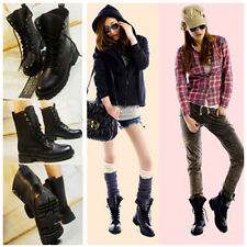 Punk New Womens Lace Up Ankle Military Army Combat Boots Military Boots Shoes